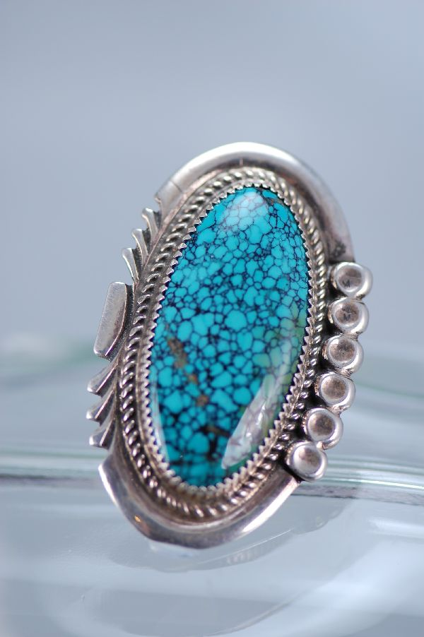 Navajo – Exquisite Sterling Silver China Mountain SpiderWeb Turquoise Ring Size 8