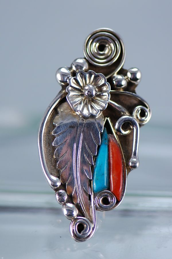 Navajo – Turquoise and Coral Sterling Silver Ring Size 7 1/2