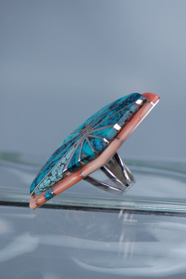 Navajo – Exquisite Multi-Stone Inlaid Sterling Silver Ring Size 6 1/2