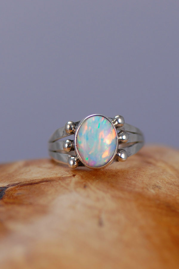 Lab Opal Navajo Ring