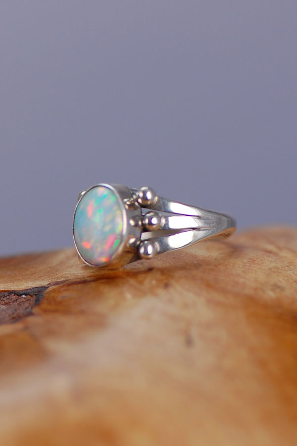 Navajo – Lab Opal Sterling Silver Ring Size 6