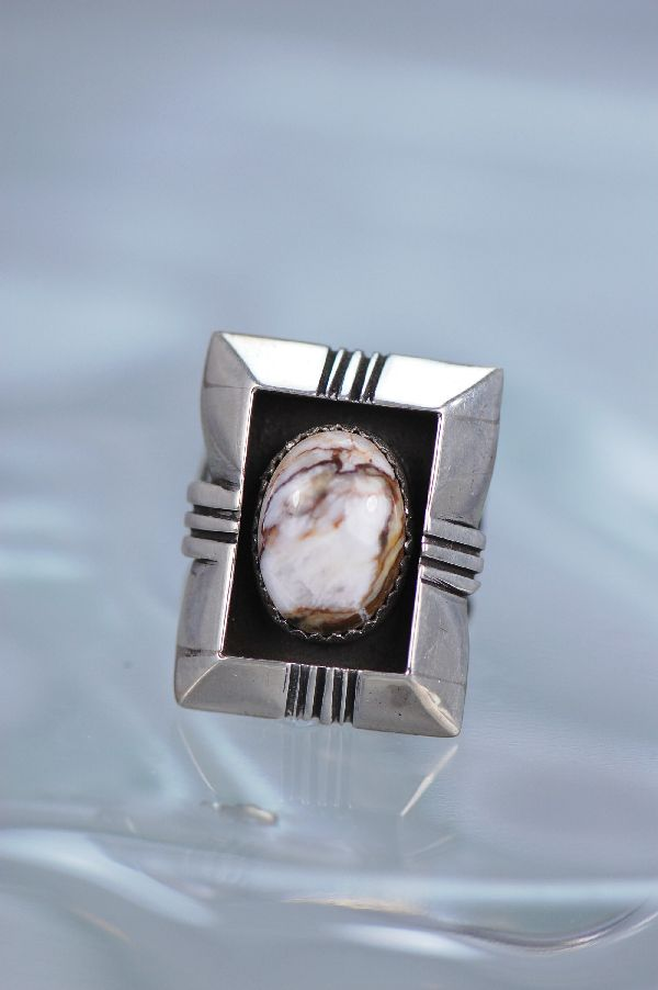 Navajo – Ladies Sterling Silver Wild Horse Magnesite Ring Size 6 3/4