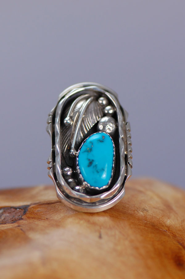 Navajo - Sleeping Beauty Turquoise Sterling Silver Ring Size 5 1/2