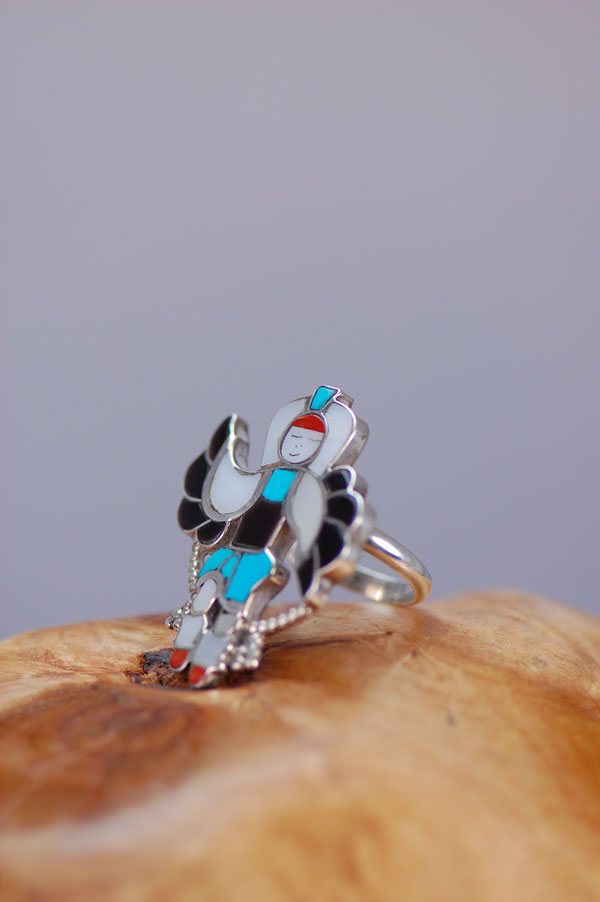 Zuni – Inlaid Eagle Dancer Sterling Silver Ring Size 7 1/2