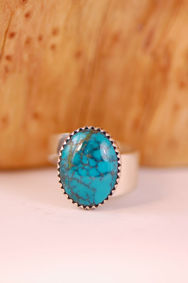 Navajo – China Mountain Turquoise Sterling Silver Ring Size 7