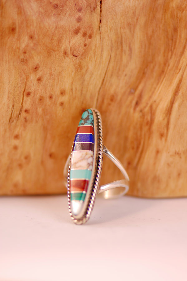 Navajo – Multi-Stone Inlaid Sterling Silver Ring Size 6 1/4