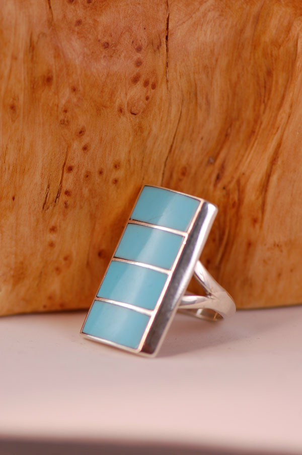 Navajo Sterling Silver Inlaid Sleeping Beauty Turquoise Ring Size 11