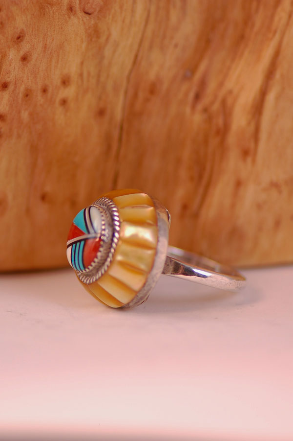 Zuni - Elegant Multi-Stone Inlaid Ring by Lee and Mary Weebothee Size 6 1/4