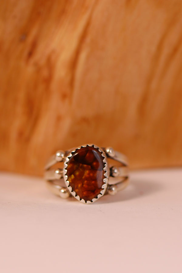 Navajo � Fire Agate Sterling Silver Ring Size 5 1/2