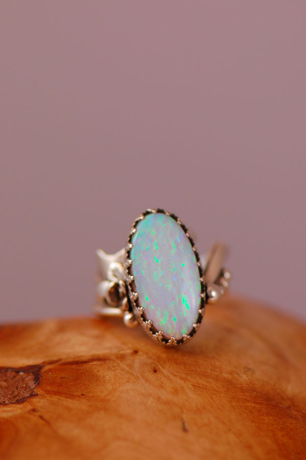 Navajo – Lab Opal Sterling Silver Ring Size 6 1/4