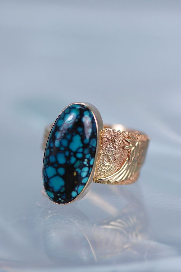 Navajo 14KT Gold Chinese Spider Web Turquoise Ring