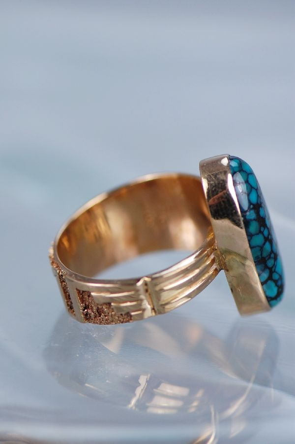 Navajo – Ladies 14KT Gold and Chinese Spider Web Turquoise Ring Size 9