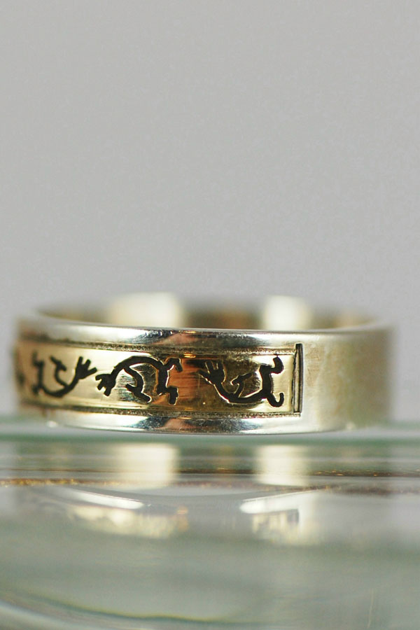 Navajo – 14KT Gold and Sterling Kokopelli Band Ring Size 7 1/4