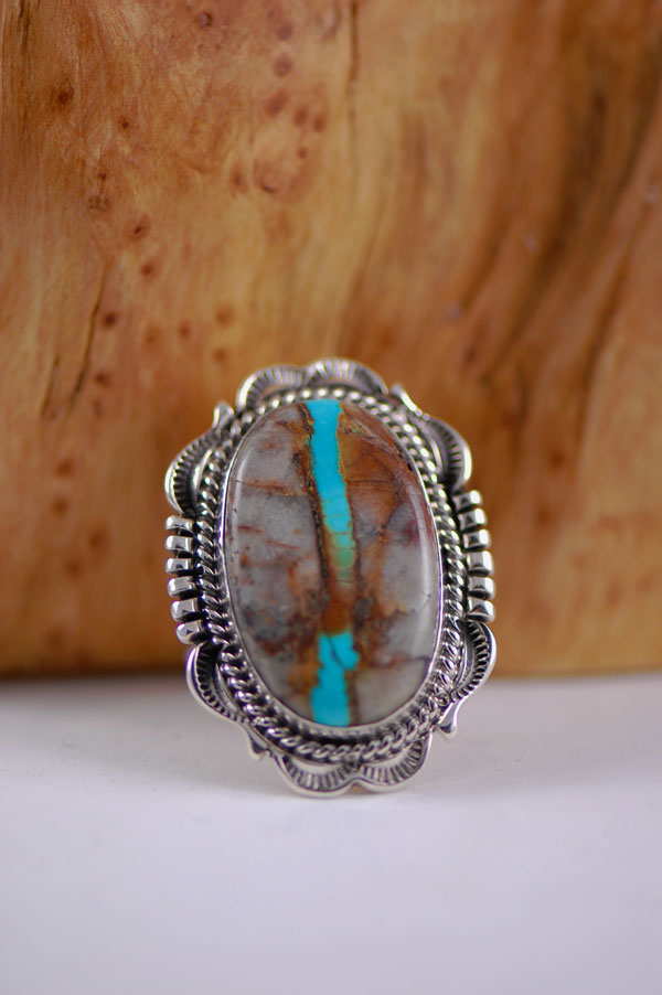 Navajo - Natural Blue Ribbon Royston Turquoise Sterling Silver Ring Size 9