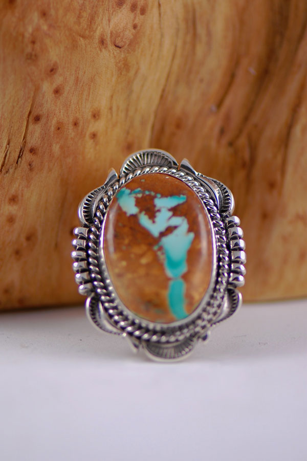 Natural blue ribbon royston turquoise sterling silver ring for Royston ribbon turquoise jewelry