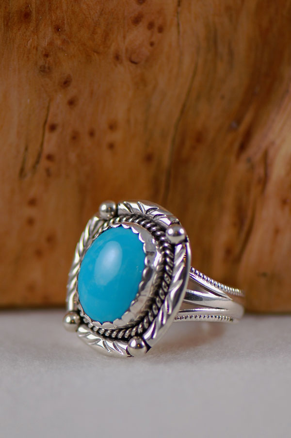 Navajo – Castle Dome Turquoise Sterling Silver Ring Size 11 1/2