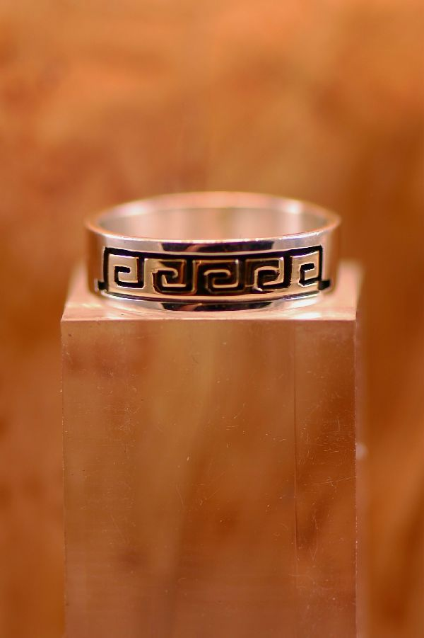 Navajo – 14KT Gold and Sterling Water Symbol Band Ring Size 6 1/2