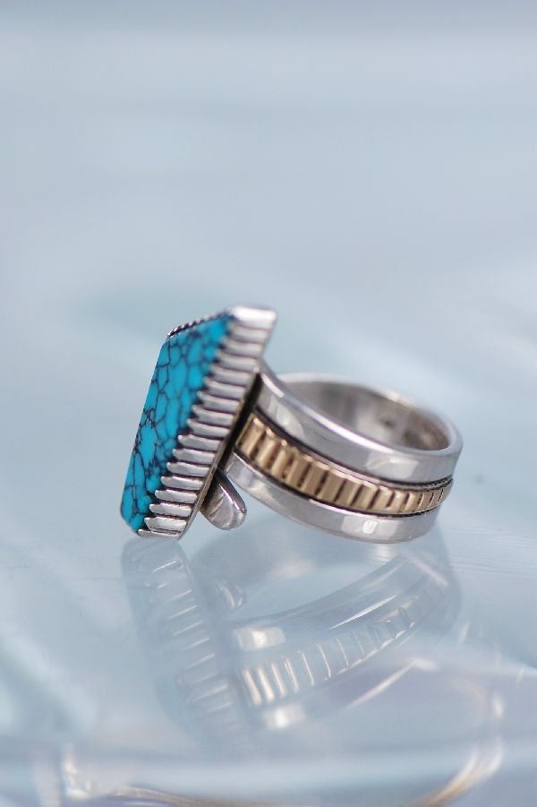 Navajo – Ladies 14KT Gold and Sterling Silver Spider Web Turquoise Ring Size 6 1/4