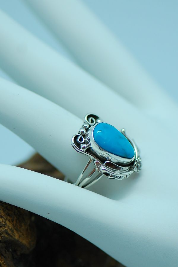 Les Baker - Unique Sleeping Beauty Turquoise Sterling Silver Ring Size 7 1/2