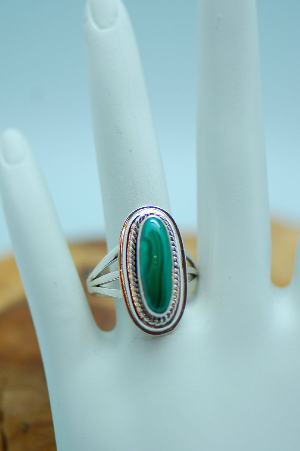 Malachite Sterling Silver Ring Ladies