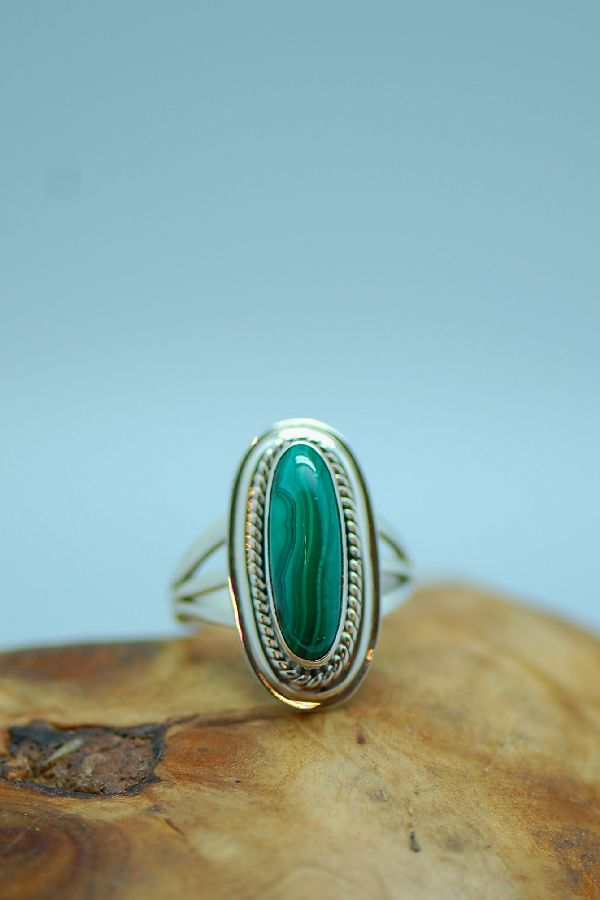 Les Baker - Malachite Sterling Silver Ring Size 7 1/2