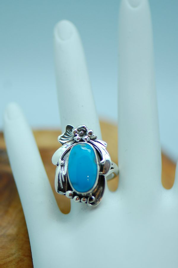 Les Baker - Unique Sleeping Beauty Turquoise Sterling Silver Ring Size 5 1/2