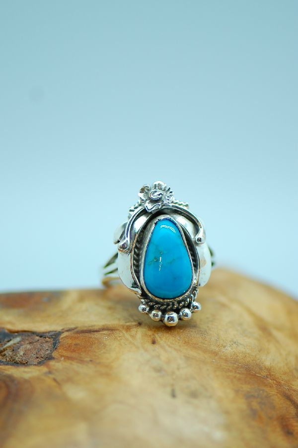 Les Baker - Unique Sleeping Beauty Turquoise Sterling Silver Ring Size 6 1/2