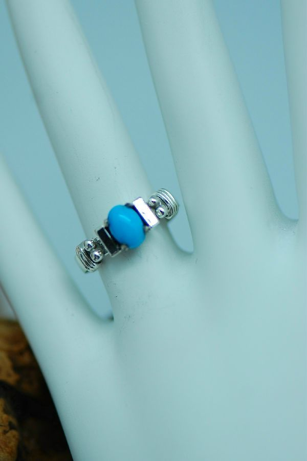 Les Baker –Sterling Silver Sleeping Beauty Turquoise Ring Size 7 1/2