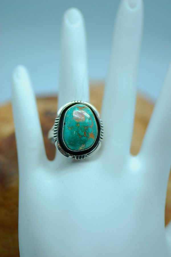 Navajo – Nevada Turquoise Sterling Silver Ring Size 7 1/2