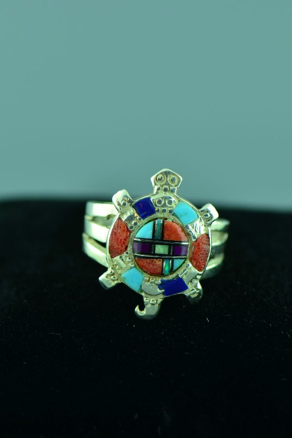 Navajo - Sterling Silver Inlaid Multi-Stone Turtle Ring Size 10 3/4