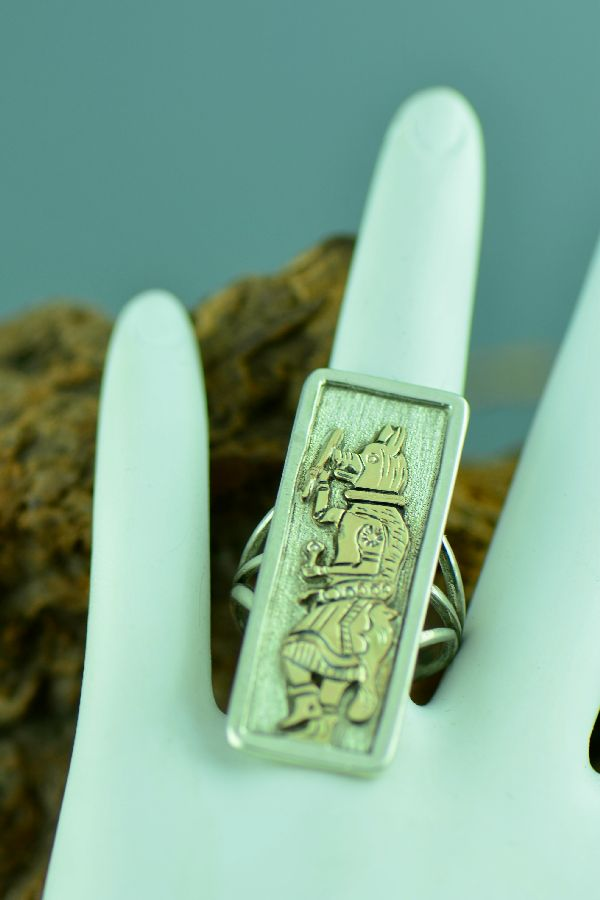 Navajo – Ladies 12ktGF and Sterling Wolf Dancer Kachina Ring Size 7 1/2