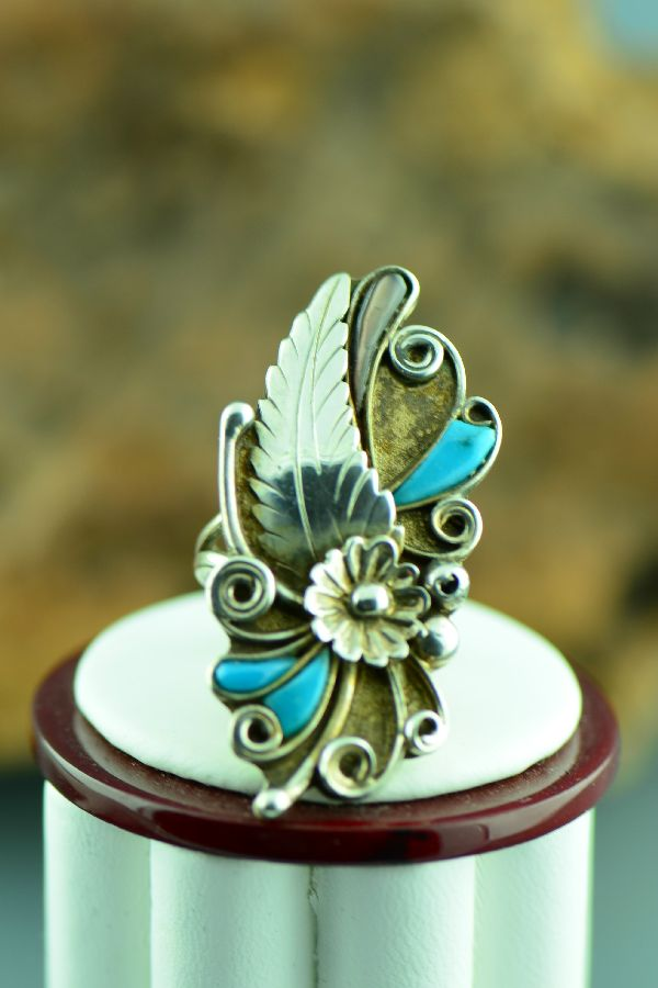 Navajo – Sterling Silver Turquoise Ring Size 7
