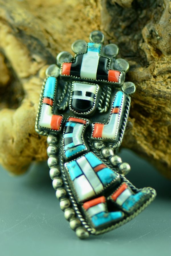 Zuni – Vintage (1970's) Sterling Silver Turquoise, Coral, Mother of Pearl and Jet Inlay Rainbow Dancer Ring Size 7 (Private Collection)