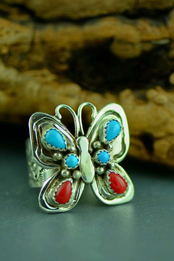Navajo – Sterling Silver Sleeping Beauty Turquoise and Mediterranean Coral Butterfly Ring Size 9 1/2