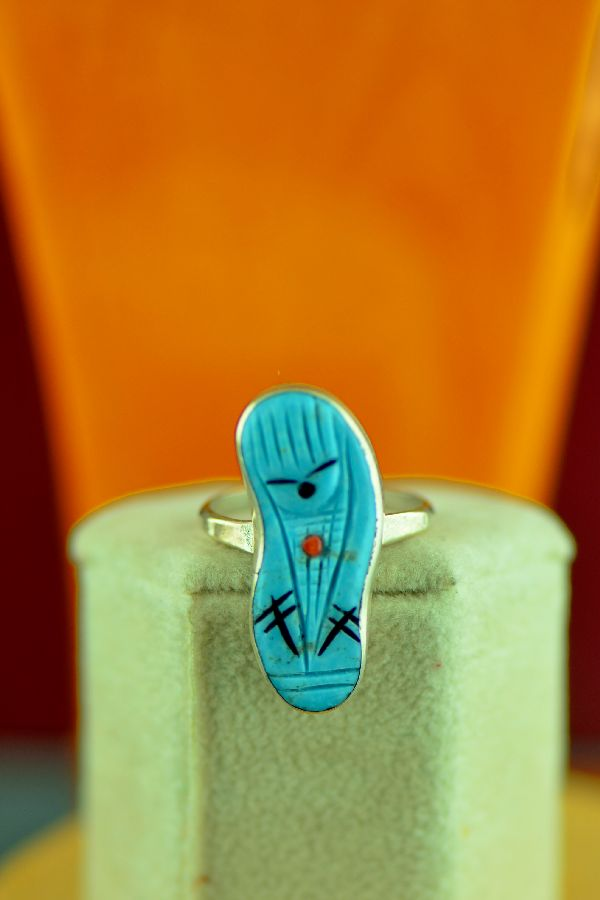Zuni – Sterling Silver Turquoise, Coral and Jet Corn Maiden Ring Size 6 1/2