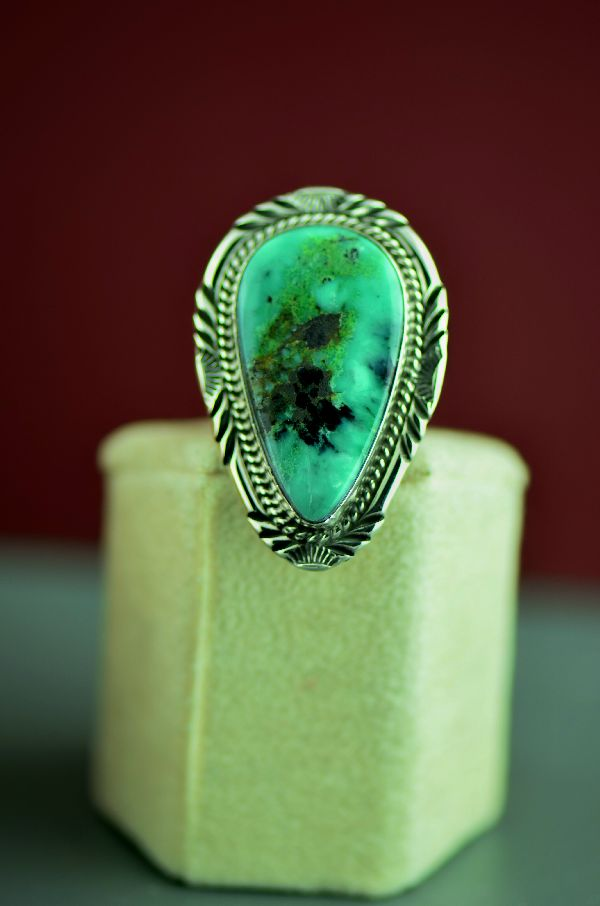 Will Denetdale Unique Nevada Apache Turquoise Ring Size 7 1/4 - Navajo