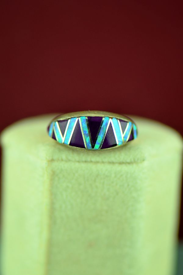 Lucy Cayatineto Sterling Silver Inlaid Purple Onyx and Lab Opal Ring Size 6 3/4 - Navajo