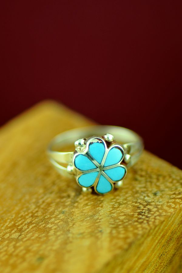 Zuni Sterling Silver Turquoise Inlaid Flower Ring by Bernadette Hattie Size 6