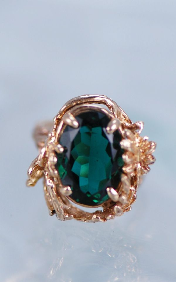 14KT Emerald Obsidianite Ring