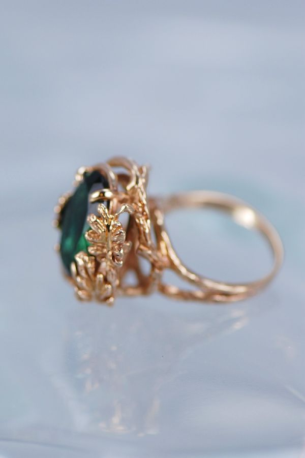 Cherokee – Ladies 14KT Emerald Obsidianite Ring Size 6 1/2