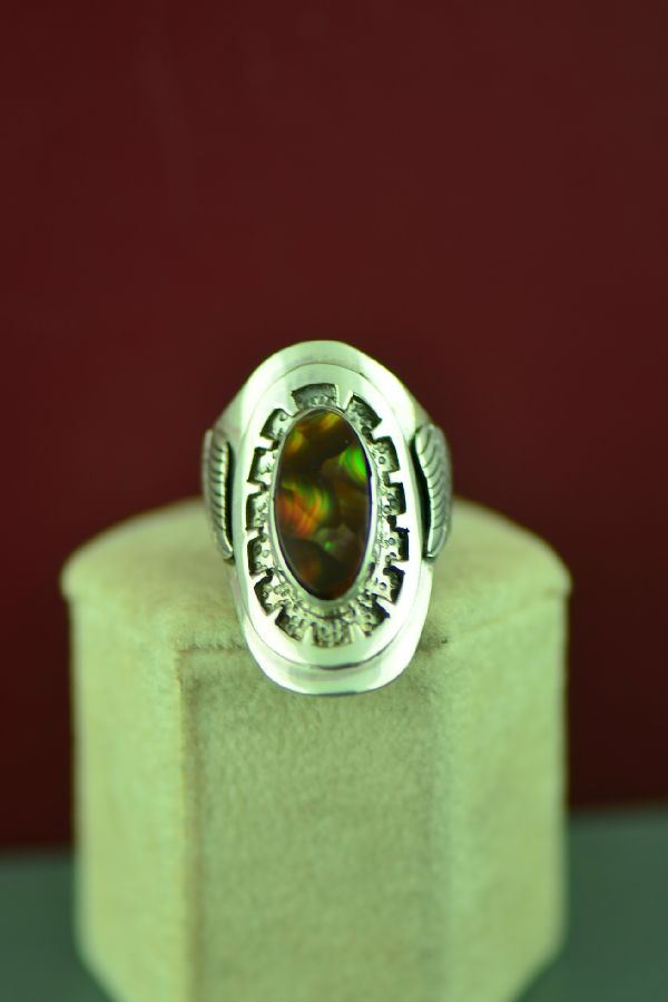 Navajo Sterling Silver Slaughter Mountain Fire Agate Ring by Will Denetdale Size 6 3/4
