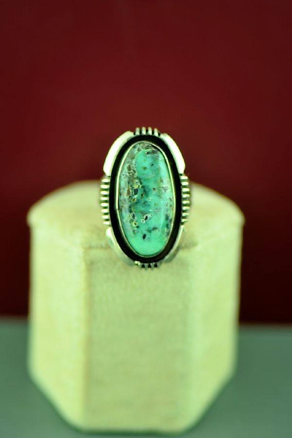 Navajo Sterling Silver Apache Turquoise Ring by Will Denetdale Size 6 1/4