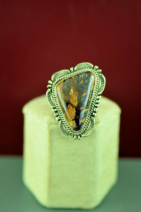 Navajo Sterling Silver Australian Boulder Opal Ring by Will Denetdale Size 7