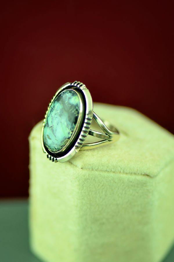 Navajo Sterling Silver Apache Turquoise Ring by Will Denetdale Size 6