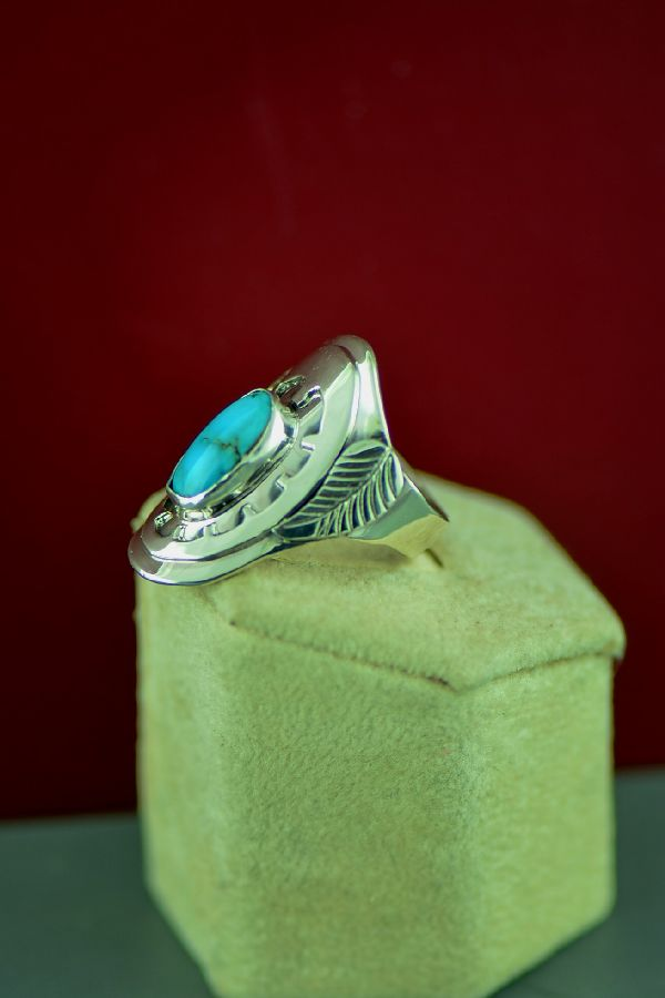 Navajo Sterling Silver Bisbee Turquoise Ring by Will Denetdale Size 8 1/2