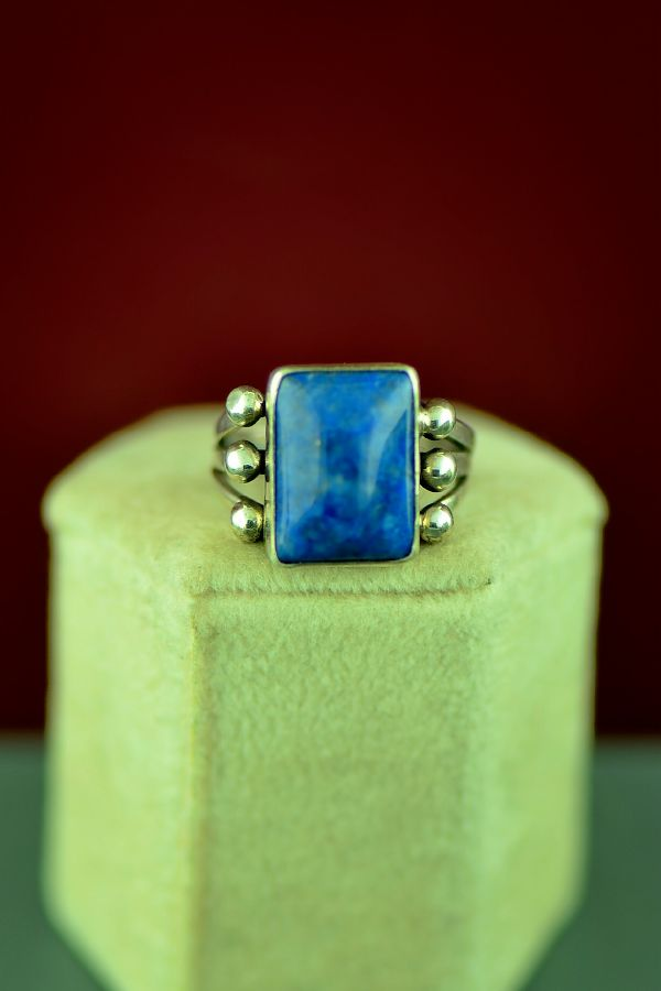 Navajo Sterling Silver Lapis Ring by Will Denetdale Size 7