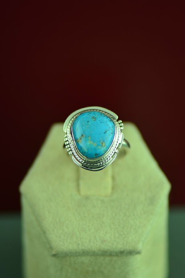 Navajo Sterling Silver Kingman Turquoise Ring by Larson Lee Size 6