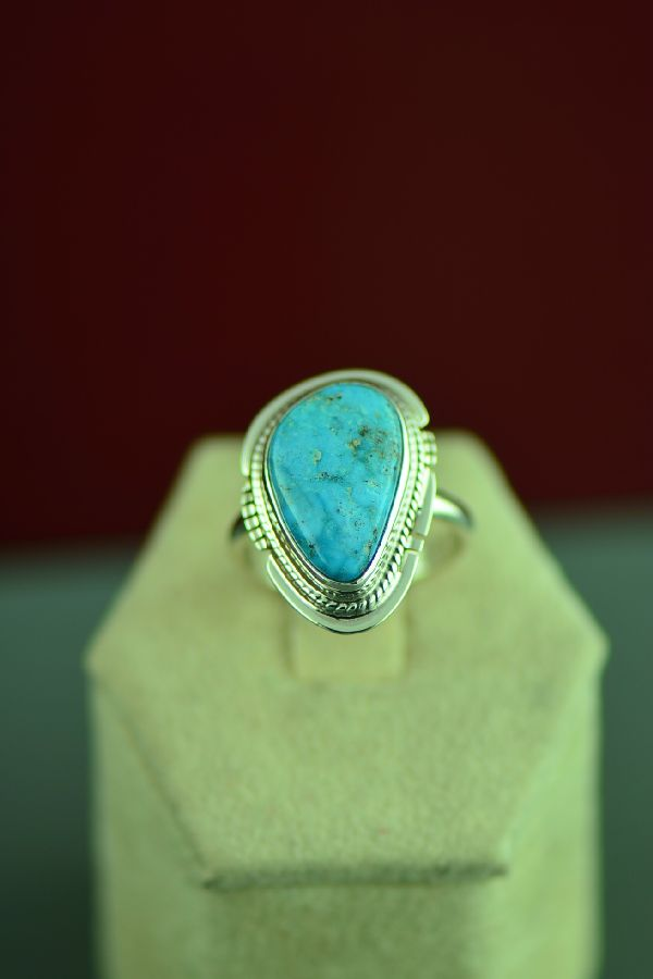 Navajo Sterling Silver Kingman Turquoise Ring by Larson Lee Size 7