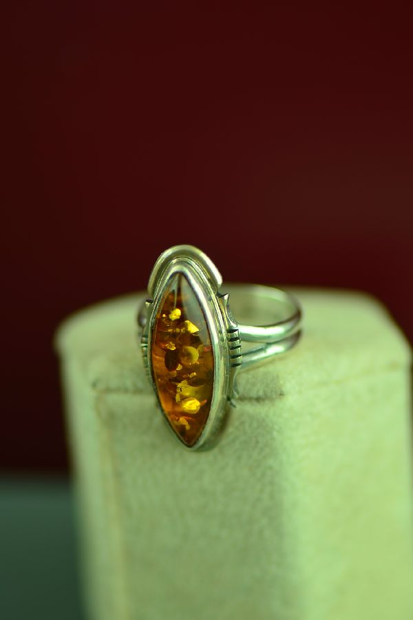 Navajo Sterling Silver Amber Ring by Arkie Nelson Size 6 1/2