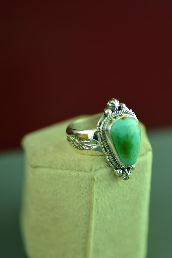 Navajo Sterling Silver Royston Turquoise Ring by Lucy Valencia Size 9